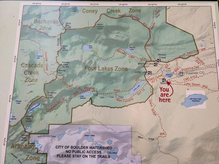 Map of Four Lakes Backcountry Zone