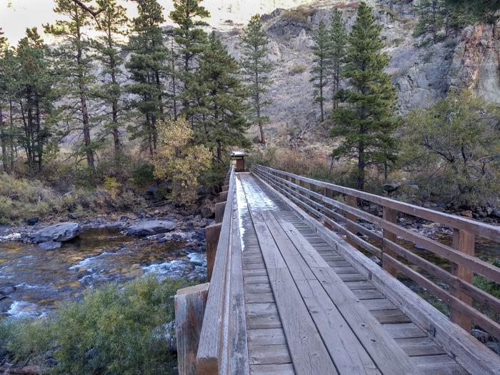 Greyrock Trail footbridge Cache la Poudre River