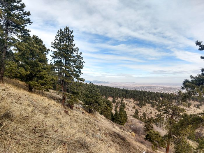 The Mesa Trail view of the City of Boulder