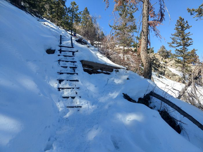 Saddle Rock Trail winter stairs