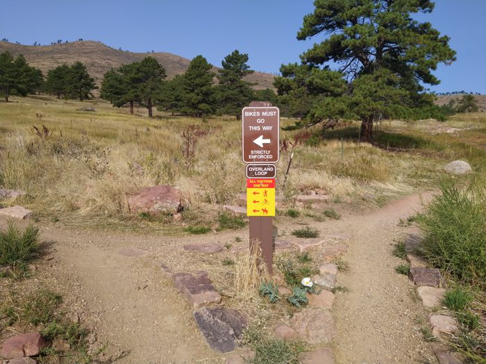 Overland Loop Trail Heil Valley Ranch sign