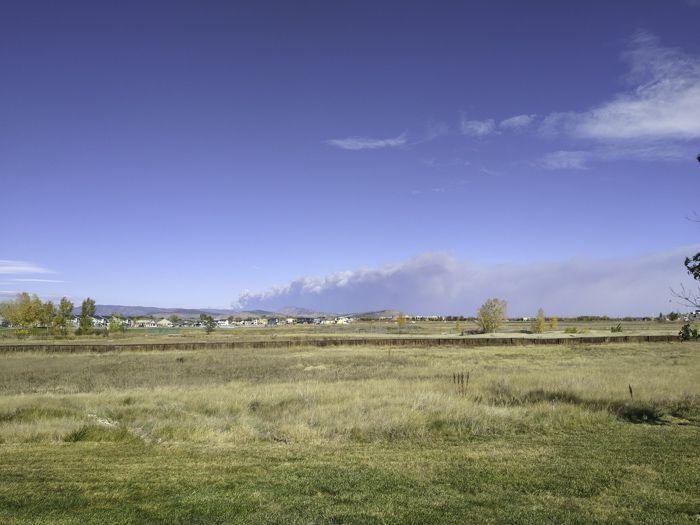 Cameron Peak Fire as seen from Longmont